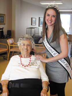 Volunteer Chelsea Ash and resident Clara Milley at St. Patrick's Mercy Home in St. John's.