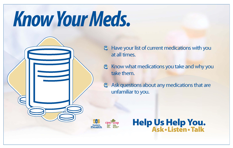 Medication Safety Involves Me Eastern Health S Storyline