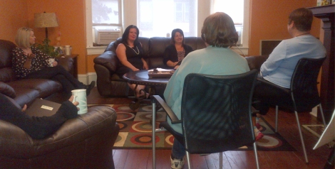 Women's Only Addictions Group. Facing camera- l-r: Michele Pike, Eastern Health Social Worker, Amy Sheppard, Social Worker, Stella's Circle and Karen Pennell, Social Worker, Stella's Circle.