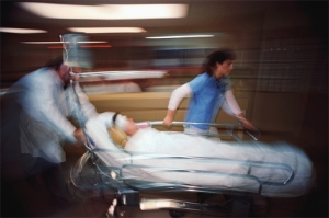 Emergency room: rushing in with a patient.