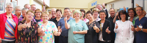 Lillian Murphy joins the other staff celebrating their silver anniversary at the Burin Peninsula Health Care Centre. Lillian is in the second row, fifth from the right.