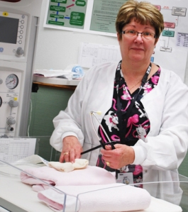 Lillian Murphy, RN, in her professional 'home' – the Obstetrics Unit at the Burin Peninsula Health Care Centre.