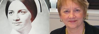 Marie Duffett , nursing yearbook photo and now