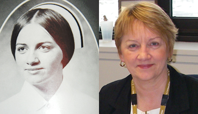 Marie Duffett , nursing yearbook photo and now