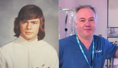 Sandy Duffett, nursing yearbook photo and now