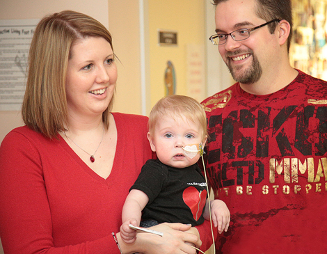 Lisa, her son Jacob and her husband, Jon, at the Janeway Cardiology Program's Open House. Photo by Phil Simms.