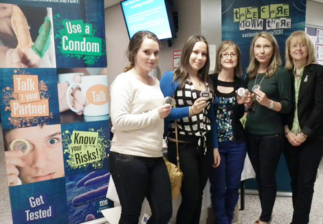 Lacey Walsh and Taylor Blagdon, College of the North Atlantic, Burin Campus students; Joyce Kelly, public health nurse, Burin; Anita Forward and Donna Dawe, sexual health consultants.