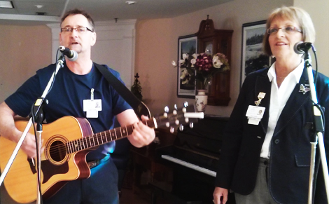 Social Worker Cathy Connors with co-worker and fellow musician Dwight Crocker at the Agnes Pratt Nursing Home, St. John's.