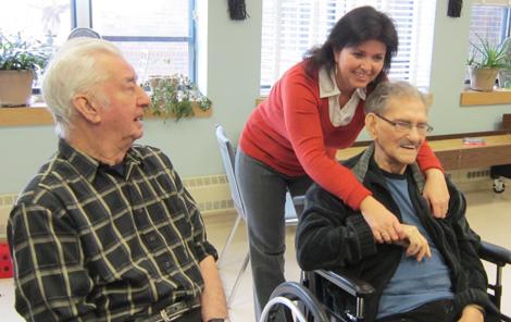 (l-r) Long-Term Care resident Frank Patton,  Social Worker Kim Slaney, Long-Term Care resident Thomas Scott.