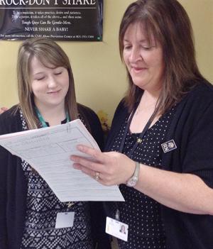 AnnMarie mentoring nursing student Brittany  Woodman.