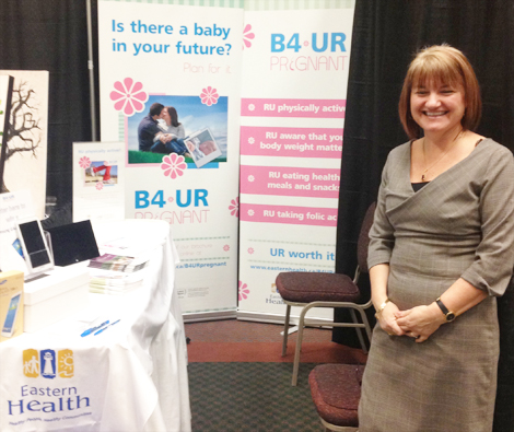 Colleen Kearley, a nurse working with Eastern Health's Health Promotion Division at the Devotion Wedding Show in St. John's on March 2, 2014.