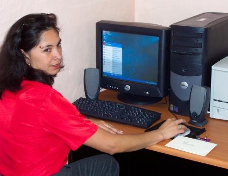 Erika Fetzer Leal, a teacher at Coban Nursing School, Guatemala, prepares for class.