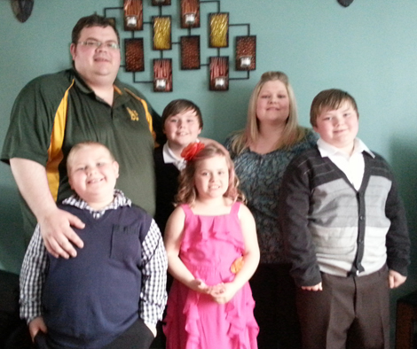 Youth Outreach Worker, Jeff Moulton with his wife and four children.