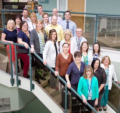 Eastern Health's chemotherapy pharmacy team. Back to front, (l-r): Alicia Wall, clinical pharmacist; Lisa Newhook, pharmacy technician; Richard Coombs, clinical pharmacist; James Lacey, pharmacy technician; Rose Powell, pharmacy technician; Barb White, care facilitator; Elizabeth Perchard, clinical pharmacist; Andrew Collins, clinical pharmacist; Chilo Winter, clinical pharmacist; Ryan Lethbridge, pharmacy technician; Dean MacIsaac, manager process improvement; Danielle Chafe, pharmacy technician; Denise Woodford, pharmacy technician; Rick Abbott, pharmacy manager; Ashley Turner, clinical pharmacist; Natalie Lethbridge, pharmacy technician; Lisa Chafe, pharmacy technician; Lisa Harding, pharmacy technician; Lynn Hartery, clinical pharmacist; April LeGrow, pharmacy technician; and Bertha Tee, oncology nurse.