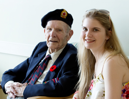 (l-r) Alonzo Barry, resident of Caribou Memorial Veterans Pavilion and grand-daughter Krista Barry