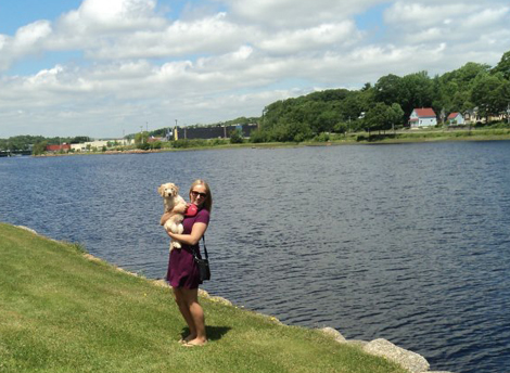 Samantha Flynn, co-operative student with Eastern Health, and her dog Chloe during their first summer in Nova Scotia, in June 2012.