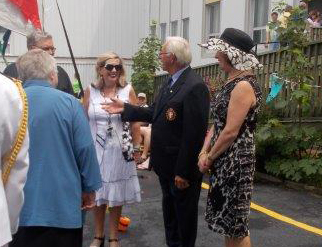 (l-r) Sister Elizabeth Davis, Archbishop Martin Currie, Executive Director Joan Marie Aylward, Lieutenant Governor Frank Fagan and Patricia Fagan from Government House.