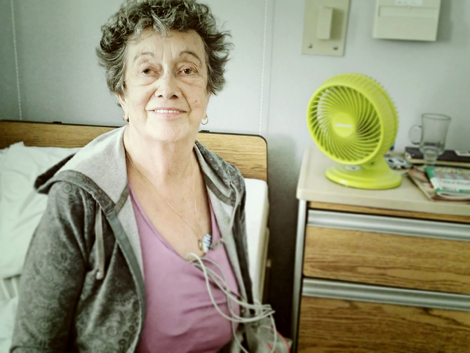 Florence Walsh, Eastern Health patient, with fan.