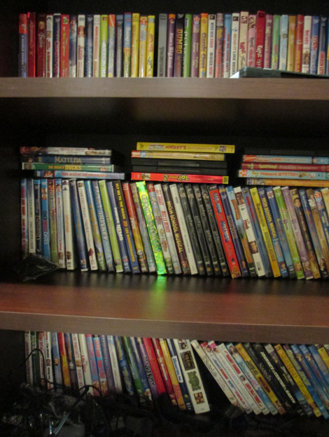 Young cancer patients have access to this well-stocked movie shelf so that they can watch their favourite movies during radiation therapy treatments.