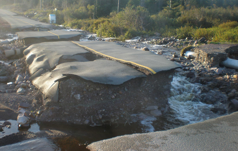 Towns were inaccessible after Hurricane Igor hit Newfoundland and Labrador on September 21, 2010.