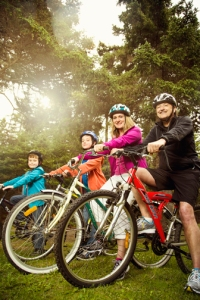 Family biking in Placentia