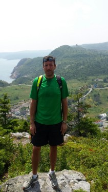 Sean enjoying the beautiful Newfoundland scenery on his hike in late July 2014.