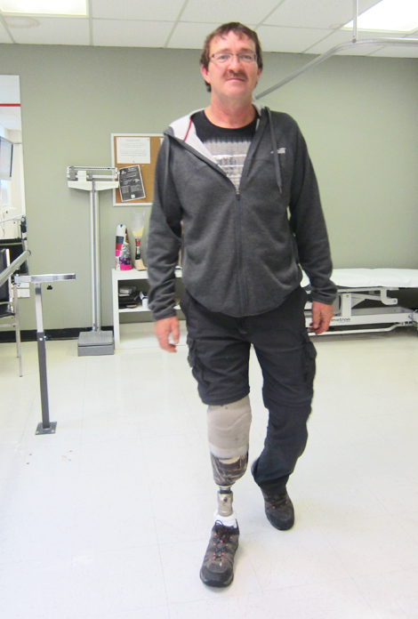 Amputee Jim Glavine walking tall with his new prosthetic leg.