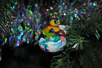 Painted wooden Christmas ornament from Open Windows Studio