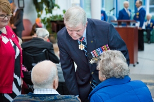 Sharon Nolan with veterans and Gen. Rick Hillier, November 2013