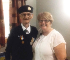 Sharon Nolan with John Callahan, veteran of the Korean War