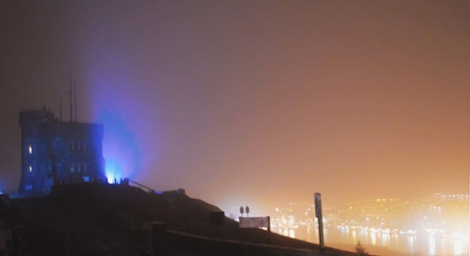 Signal Hill, illuminated in purple, to mark Prematurity Day, November 17, 2014