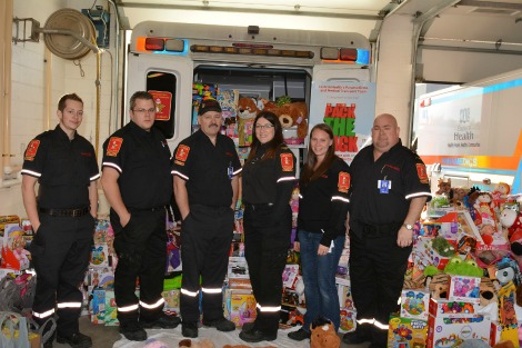 PMT team at the fourth annual Pack the Back donation event. (l-r) Casey Price (Metro Paramedic Service), Stephen Ryan (MPS), Lee Clarke (Carbonear General Paramedic Service) Karen Spurvey (MPS), Rebecca Turner (MPS), and Lloyd Chubbs (CGPS).