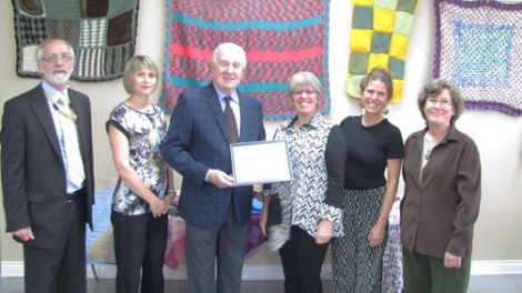 (l-r) Don Keats, interim President and CEO; Heather Powell, Health Promotion Consultant; Frank Ryan, Vice-Chair, Eastern Health Board of Trustees; Jane Thomas Yager, Nicola Hawkins and Susan McFadden, cofounders of the Ferryland Kindred Spirits Group.