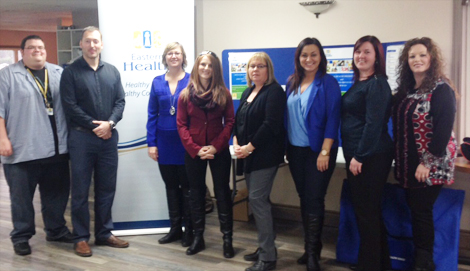 Mental Health and Addictions staff at the Addictions Awareness Week forum in Marystown: (l-r) Jeff Moulton, Wayne Bishop, Evelyn Tilley, Paula Delahunty, Elizabeth Peddle, Kara Pinksen, Cheryl Baker and Tracey Sharpe-Smith