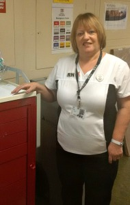 Dianne Boland at her post on 7 West, St. Clare's Hospital