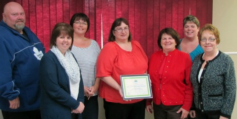 Presentation of Community Development Grant to St. Lawrence Softball Committee at the St. Lawrence Town Hall this past October. (l-r) Michael Stacey, councillor with the Town of St. Lawrence; Tammy Greening, Health Promotion Wellness Consultant with Eastern Health; Andrea Edwards, chair of the committee; Madonna Lundrigan, co-chair of the committee; Barbara Cribb, member of Eastern Health's Board of Trustees; Jennifer Slaney, councillor with the Town of St. Lawrence; and Shirley Rose, member of Eastern Health's Board of Trustees.