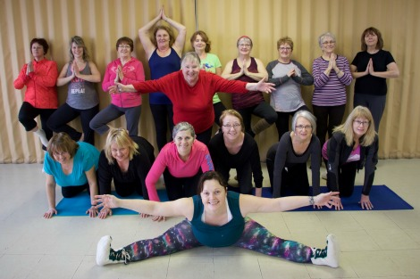 Eileen and her Yoga classmates with instructor Tina Lynnette Baird.