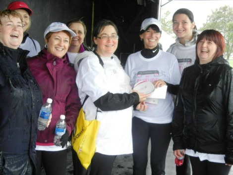 Author Ramona Kelloway, centre, with several enthusiastic members of the Pink Pearls