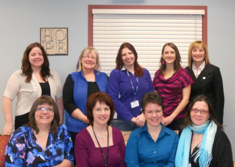 Staff of the HOPE program. Front (l-r) Cynthia Burt, Kelly Maloney, Ashley Walsh, Andrea Hann.  Back: Jennifer Vickery, Nancy White, Sarah Pegrum, Nancy Rogers, Krista Wade