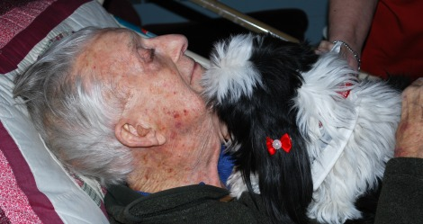 Gerald Greenslade getting kisses from Ebony