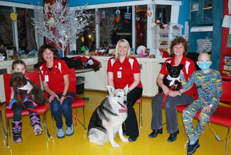 A group shot at the Janeway Health and Rehabilitation Centre. (l-r) Leah Swain, patient at the Janeway, Charlie, Noreen Flynn, St. John Ambulance volunteer, Maggie, Angela Martin, St. John Ambulance volunteer, Abbey, Lynn Cooze, St. John Ambulance volunteer and Daelen Murphy, patient at the Janeway