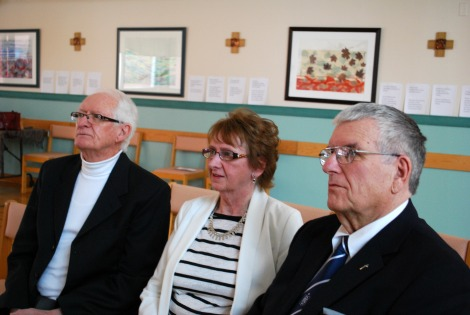 Joanie's brother Robert Pitcher, sister Edwina Cooper and brother-in-law Grant Cooper at funeral service in the Waterford Chapel