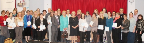 Group picture with grant recipients at the 10th year anniversary Comfort in Care™ ceremony.