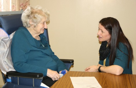 (l-r) Masonic Lodge resident Mary Doyle with Connie Pilgrim, regional social work coordinator with Eastern Health