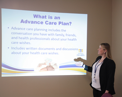 Debbie Hollett giving presentation on advance care planning