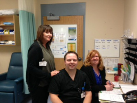 Divisional Manager Amanda Whelan with RN Hank Rice and nurse practitioner Michelle Budden at Emergency Department, Health Sciences Centre