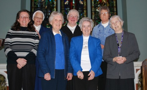 Sisters who lived in St. Clare's Mercy Convent in recent years: Front row (l-r): Sister Marie Etheridge, Sister Jane McGrath, Sister Marian Grace Manning, and Sister Madonna O'Neill Back Row, left to right: Sister Brenda Lacey, Sister Elizabeth Davis and Sister Madonna Gatherall