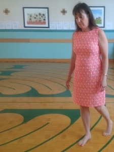 Bernardine Ring walking the labyrinth at the Waterford Hospital