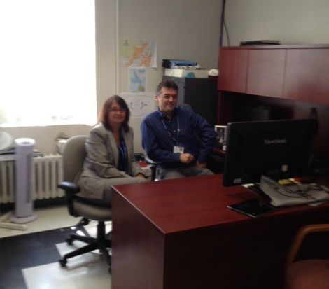 June Quilty-Clarke, regional manager of the Project Management Office within HTDM, working with Trevor Trimm, regional manager of Enterprise Architecture at Eastern Health.