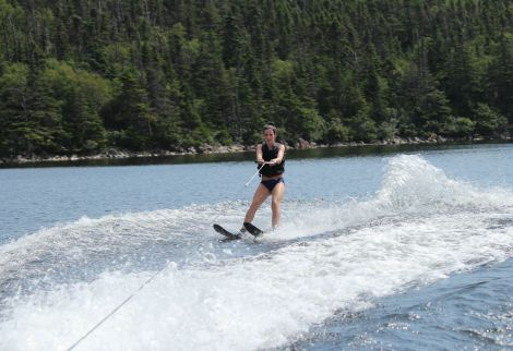 Sue Thompson, nurse with Eastern Health enjoying water skiing